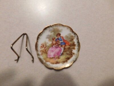 Limoges Portrait Plate Fragonard Lovers Courting Couple Miniature w/ Stand