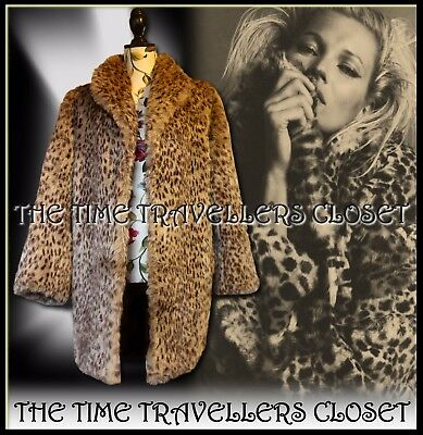 Astraka Vintage 80s Beige Brown Faux Fur Leopard Thigh Length Coat Jacket UK 12+