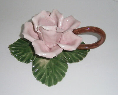 Vintage Capodimonte Porcelain Pink Rose Flower Candle Holder Hand Made Italy