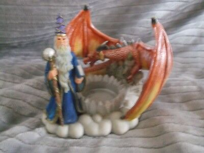 Wizard & Dragon Candle Holder Display Piece