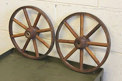 Pair Antique Rustic Wood Steel Wagon Folk Art Wheel Primitive Buggy Vintage 11""