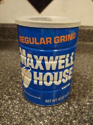 Vintage Maxwell House Coffee One Pound Can Plastic Lid Regular Grind Empty