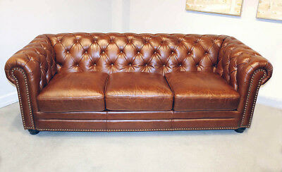 New Chesterfield Sofa Best Top Grain Leather English Restoration Hardware Style