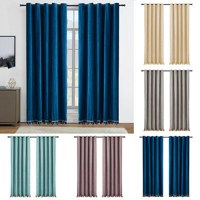 Heavy Duty Pair of Velvet Window Curtains Blackout Drapes Grommet Top W/Tassel