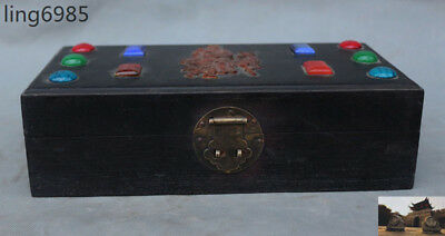 Chinese Rosewood inlay gem carved Longevity God statue Jewelry Box storage boxes