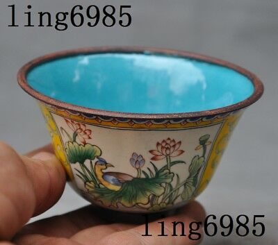 Marked Old Chinese bronze Cloisonne lotus birds auspicious statue bowl cup bowls