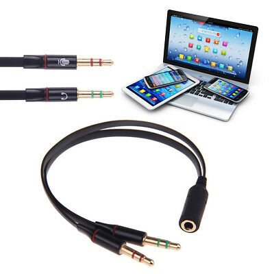 3.5mm Stereo Audio 1Male to 2 Female Headphone Mic TRRS Y Splitter Cable Adapter