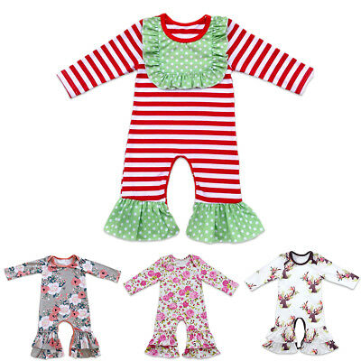 e012e0cb47ee TODDLER FLORAL ICING Ruffle Long Pants Romper Baby Girls Jumpsuit ...
