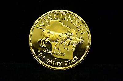 WISCONSIN Franklin Mint STATES OF THE UNION GP .925 SILVER ROUND 32.9g