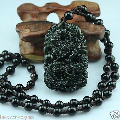 hand-made Natural black jade Boutique carving zodiac dragon Pendant necklace