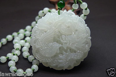 Natural jade carved Chinese jade pendant - dragon phoenix Good luck - Bead chain