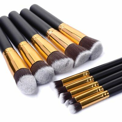 10pcs Pro Makeup Brush Set Cosmetic Foundation Blending Eye Brushes Kabuki Black