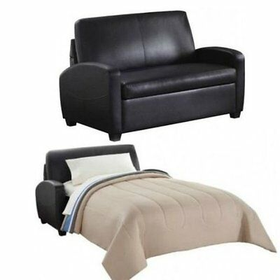 SLEEPER SOFA BLACK Leather convertible comfortable loveseat ...