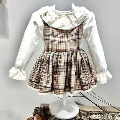 UK Retro Toddler Kids Baby Girl Xmas Thanksgiving Lace Plaid Party Dress Clothes