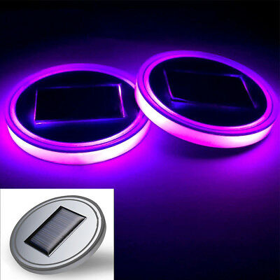 Solar Power LED Flashing Car Cup Holder Pad Mat Auto Interior Light Purple Color