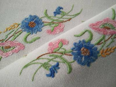 Stunning Mixed Flowers ~ Vintage Hand Embroidered Centrepiece