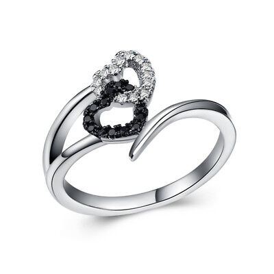 Romantic Heart 925 Silver Wedding Rings for Women White Sapphire Ring Size 6-10
