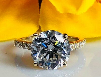 5.50 Ct Round Cut Solitaire Diamond Wedding Engagement Ring 14k Yellow Gold GP