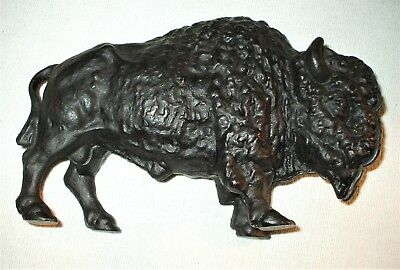 Vintage Art Smithy Cast Iron Buffalo Bison Bank ~ Western Art