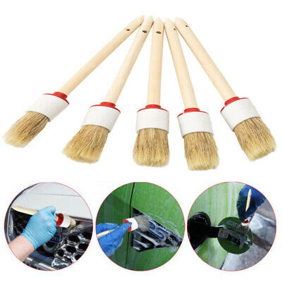 5Pcs Soft Car Detailing Brushes Cleaning Dash Trim Seats Wheels Wood Handle