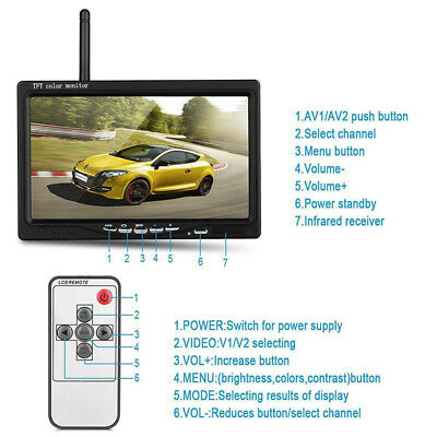 """7"""" Wireless Rear View Monitor 2.4G Backup Camera Night Vision for RV Truck Bus"""