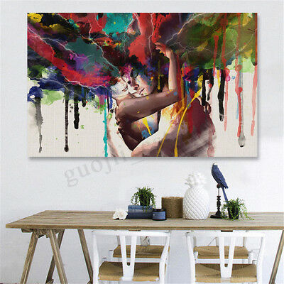 Framed Canvas Print Room Wall Art Pictures Home Decor Abstract Couple Painting