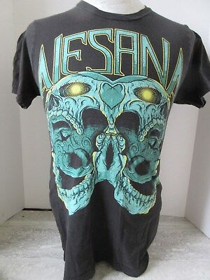 Alesana Green Double Skull Black T-Shirt size Small
