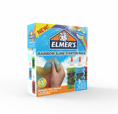 Elmer's Rainbow Slime Starter Pack Green Blue Red Colour Glitter Glue Washable