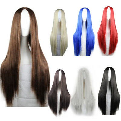Womens Synthetic Straight Long Wig Ombre Red Blue Black Blonde Cosplay Hair Wigs