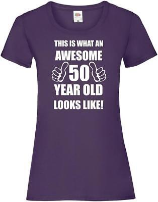 50th 50 Years Old Fiftieth Birthday Presents Womens Funny Awesome T-Shirt