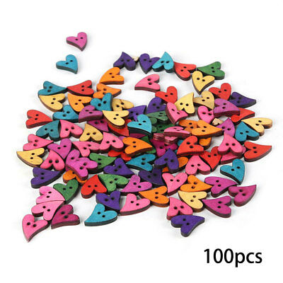 Vintage Mixed Color Cloth Decal Sewing Buttons Wood Heart Scrapbook 2 Holes