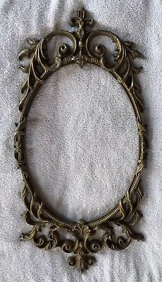 "Antique Vintage Late 1800s Framed Oval Mirror  Pictures Frame Cast Iron 28""x14"""