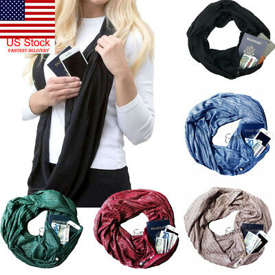 US Fashion Unisex Infinity Cotton Collar Scarves with Zipper Pocket Gift Travel