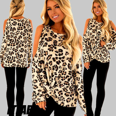 ITFABS New Fashion Women Cold Shoulder Leopard Loose Casual Tops T Shirt Blouse