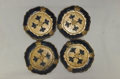 Vintage Italy Set of 4 Florentine Wood Coasters Blue Gold Gilt
