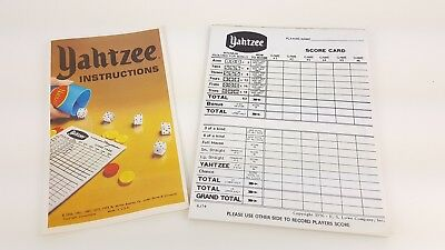 Yahtzee Game Score Cards Partial Pad vintage 1956