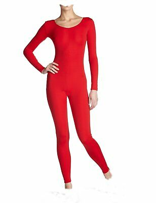 RED Cotton Stretch Dance Catsuit NEW Long SLEEVE UNITARD leotard w/ legs adult