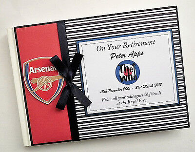 Personalised Arsenal Retirement/birthday Guest Book - Any Colour