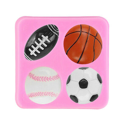 Football Rugby Basketball Tennis Baking Mould Silicone Cake Fondant Mold BI
