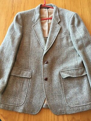 Men's Pendleton Gray Brown Houndstooth Wool Jacket Blazer