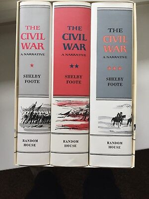 The Civil War Set by Shelby Foote (1974, Hardcover) 3 vol. set in slipcase