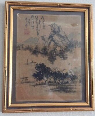 Antique Japanese Chinese Painting Landscape Mountain Signed Marked