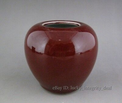 Old Chinese Red Glaze Porcelain Brush Washer Water tank