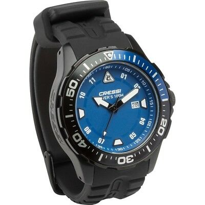 Cressi Taucheruhr Manta Dark Black Blue Edition 100m 10ATM elegant
