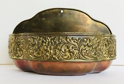 Vintage Copper Brass Planter Wall Hanging Plant Holder Pocket Boho Ornate Decor