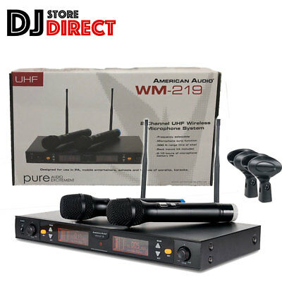 AMERICAN AUDIO WM-219 PRO Dual UHF Handheld Microphone System 90M Range 300ft
