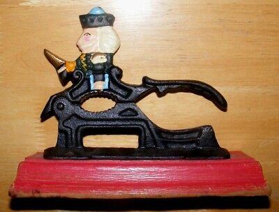 Antique Vintage TABLETOP Soldier NUT CRACKER Cast Iron Hand Painted Wood Base