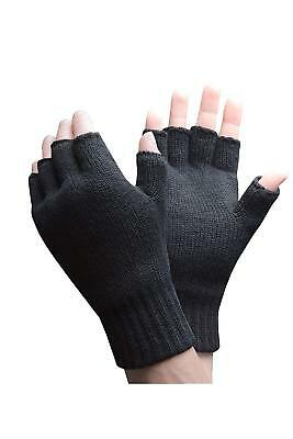 News Mens Womens Ladies Thermal Fingerless Gloves Knitted Wooly Soft Mitts