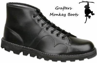 GRAFTERS Monkey Boots Mens Leather 7-Eyelet -Black B430A FREE UK DELIVERY