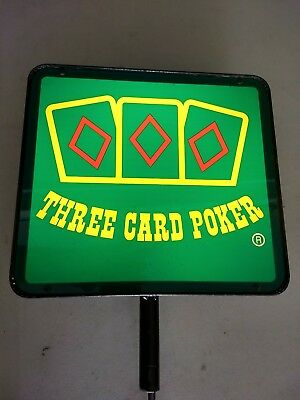 """Lighted """"Three Card Poker"""" Sign from Casino"""
